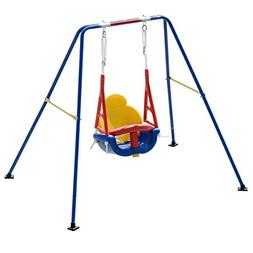 Costzon Toddler Swing Set, 3-in-1 High Back A-Frame Outdoor