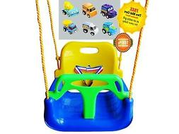 3-in-1 Blue Chair Kid Tree Hanging Swing for Garden Patio X-