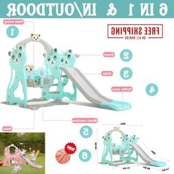 6 in 1 Swing Set For Backyard Playground Slide Fun Playset O