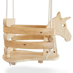 Ecotribe Wooden Unicorn Swing Set for Toddlers - Smooth Birc
