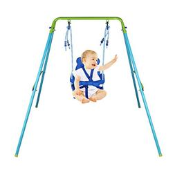 HLC Folding Toddler Blue Secure Swing with Safety seat for B