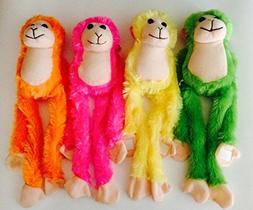 """Set of 4 - 13"""" Plush Hanging Monkeys with Hands"""