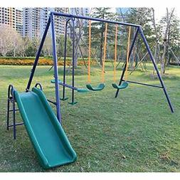 "A-Frame Metal Swing Set W/ Slide Toys "" Games Play & Sets Pl"