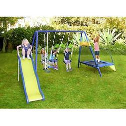 Sportspower Almansor Metal Swing Set with Slide and Trampoli