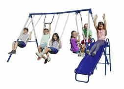 Sportspower Arcadia Metal Swing Set with Wavy Slide, Trapeze