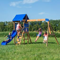 Wooden Swing Set Kids Cedar Playground Slide Outdoor Backyar