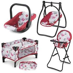 Baby Doll Play Set Swing High Chair Swing Carrier Girl Prete