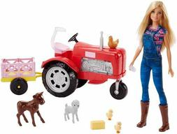 BARBIE Farmer & Tractor Playset with Tractor and Farm Animal