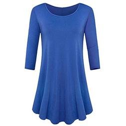 WOCACHI Blouses for Womens, Womens Three Quarter Sleeve Loos