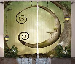 Ambesonne Cartoon Decor Collection, Forest Secret Swing Old
