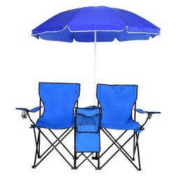 Chair Set Picnic Double Folding Table Chair W/Umbrella Coole