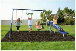 Childrens Playground Swing Slide Trapeze Rings Set Kids Outd