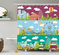 Ambesonne Circus Decor Shower Curtains, City Banners with Ca