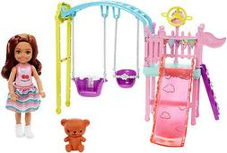 ??Barbie Club Chelsea Doll And Swing Set Playset With 2 Swin