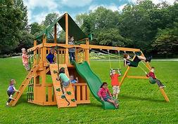 Clubhouse Swing Set w/Sunbrella Canvas Forest Green Canopy &