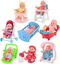 "Click N' Play Set of 8 Mini 5"" Baby Girl Dolls with Accessor"