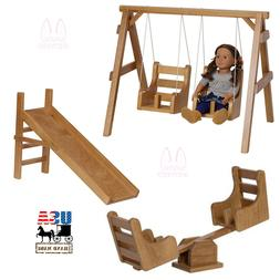 """COMPLETE 18"""" DOLL PLAYGROUND Swing See-Saw Slide Amish Handm"""