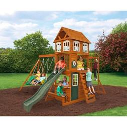 CRANBROOK CEDAR WOOD SWING SET PLAY SET SUMMIT KIDKRAFT