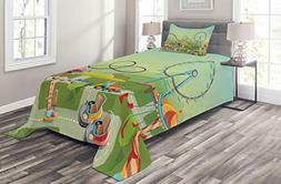 Ambesonne Ferris Wheel Coverlet Set Twin Size, Graphic Compo