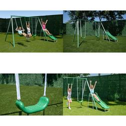 First Metal Swing Set with Slide Set Heavy Duty Slide and Tw