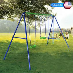 HLC Outdoor Childrens Folding Swing Set with 2 Baby Swing &