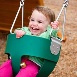 Full Bucket Swing for Toddler Seat Green Set Playground Outd