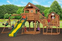New Giant 2 Clubhouse Wooden Playground Swing Set Slide Mali