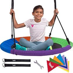 "Heavy Duty 40"" Saucer Tree Swing for Kids - Giant Large Ro"