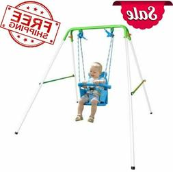 Indoor/Outdoor My First Toddler Swing Foldable Frame w/ Safe