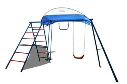 Ironkids Challenge 100 Metal Swing Set with Ladder Climber a