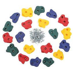 Kids 20 Assorted Rock Wall Hand Climbing Holds With Hardware