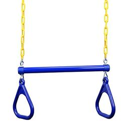 "JGS 18"" Heavy Duty Trapeze Swing Bar Combo with Rings and Ex"