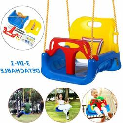 Kids 3 In 1 bucket Seat Jungle Swing Set Baby Toddler With C