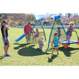 kids outdoor playground includes trampoline swings