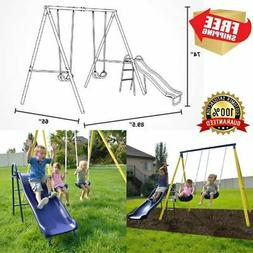 Kids Playground Slide Playset Fun Metal Swing Set Outdoor Ba