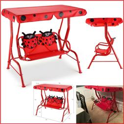 Kids Swing Sets Children Outdoor Porch Bench With Canopy Red