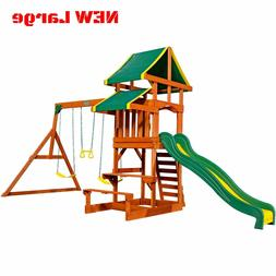 Porch Swing Set For Kids Toddler Backyard Patio Wooden Plays