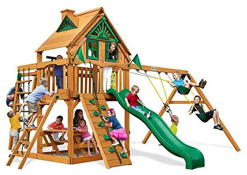 Tree House Swing Set with Rope Ladder and Amber Posts
