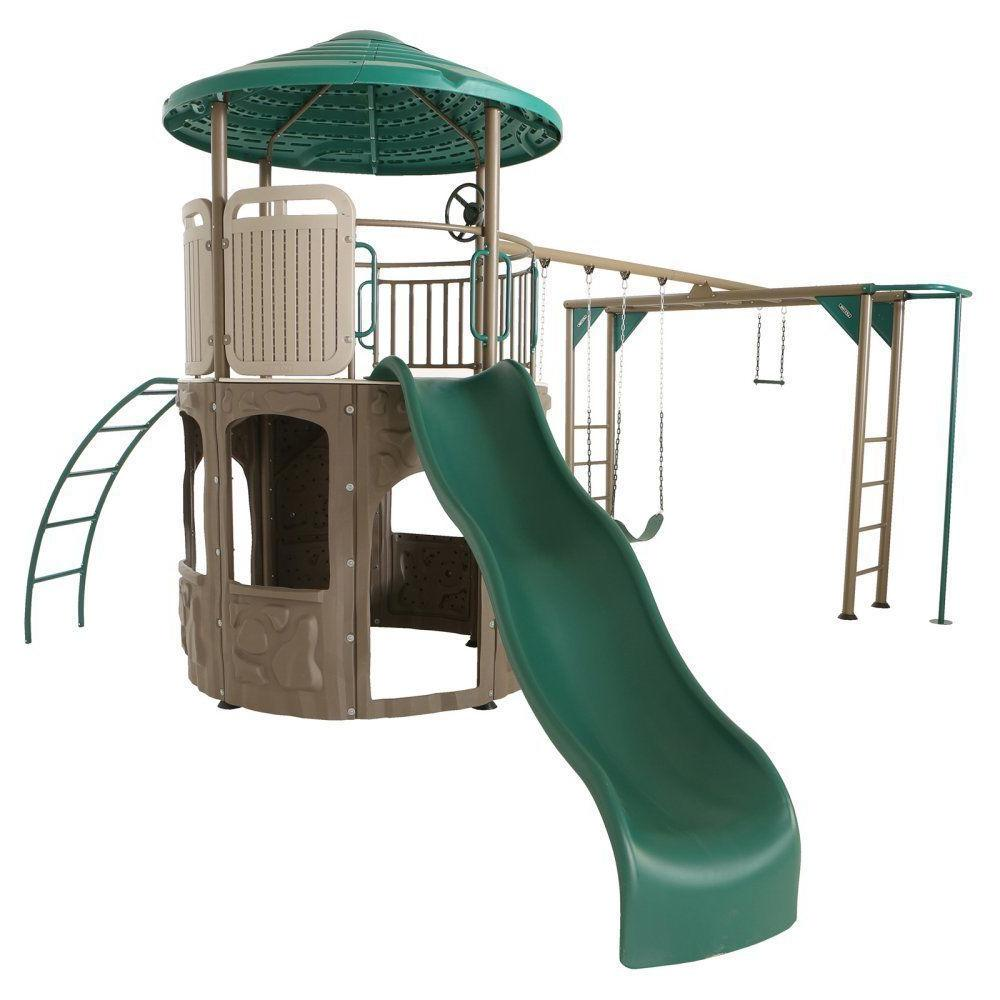 adventure tower with monkey bars swing set