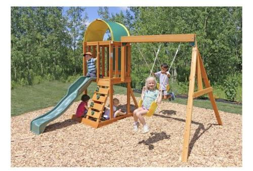 ainsley wooden swing play set multi level
