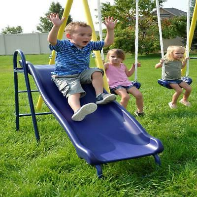 Wave Slide Kids Playground Backyard Outdoor Swing Playset At