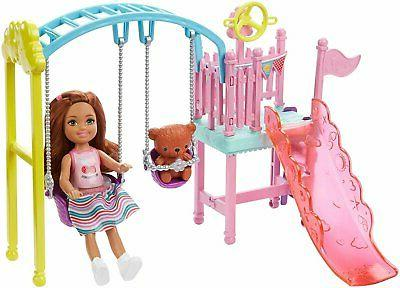Barbie and Set Playset with 2 Swings and Slide, Plus...