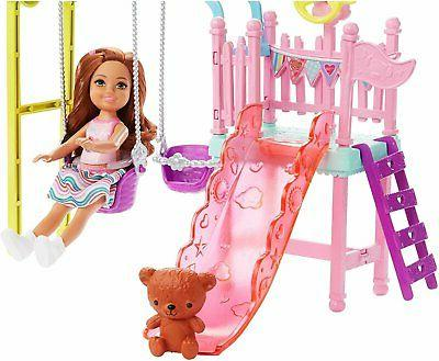 Barbie Doll and Set with 2 Swings and Slide,