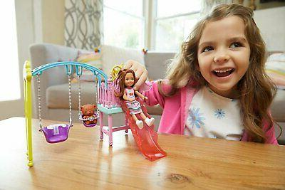 Barbie Club Chelsea and Swing Set with 2 Slide, Plus...