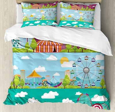 colorful duvet cover set with pillow shams