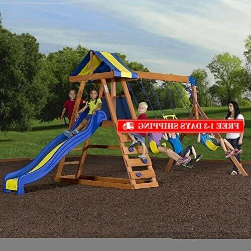 Backyard Cedar Playset Swing Set