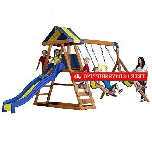 dayton all cedar wood playset swing set