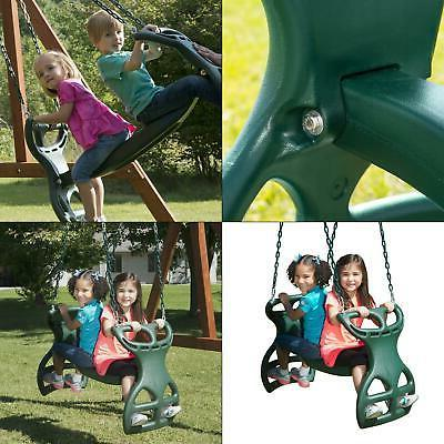 """Swing-N-Slide WS 3452 Duty Two Person Glider Swing, Chains Prevent Pinching, 18"""" x 25 in H 40"""" L, Green"""