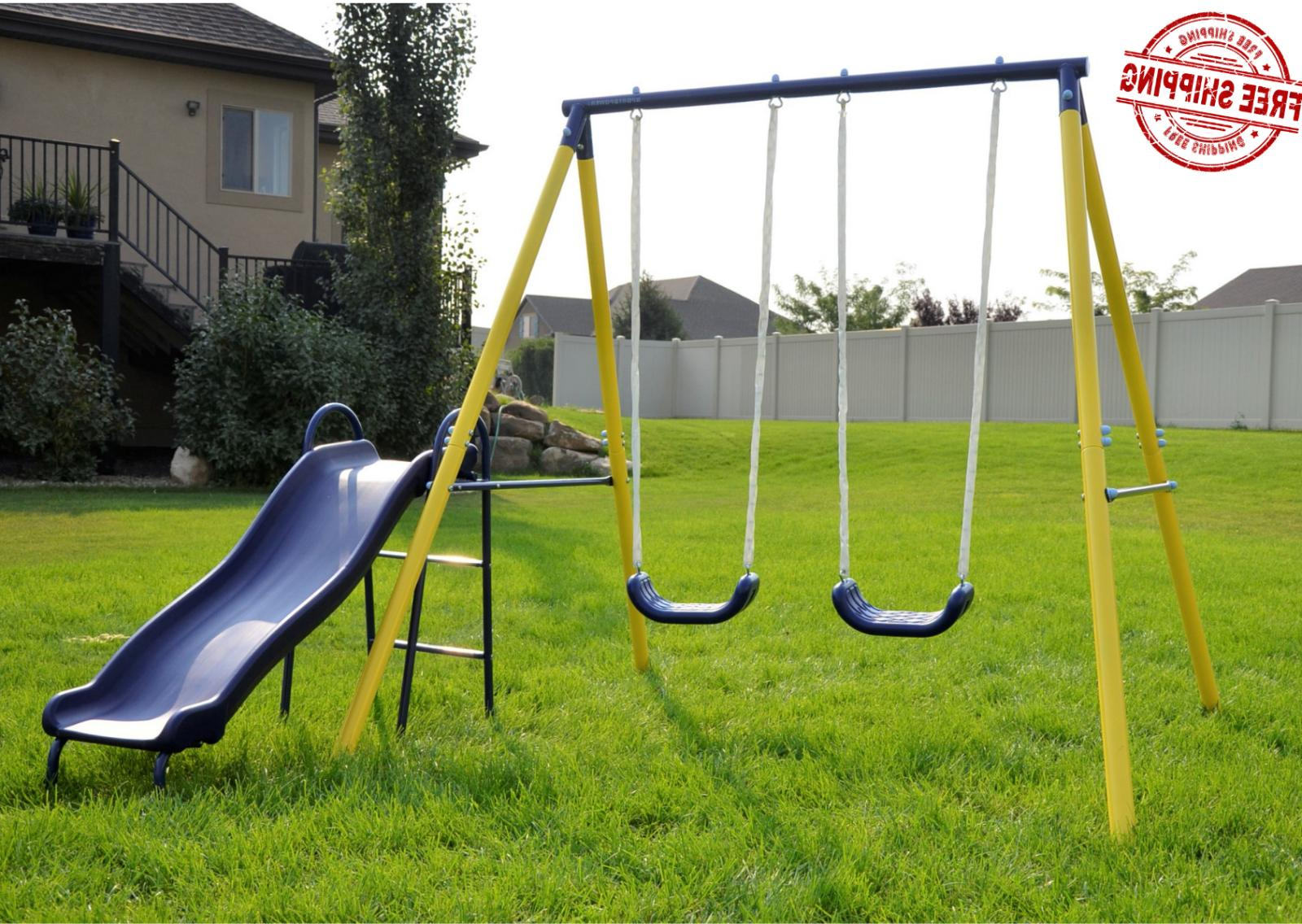 fun metal swing set kids playground slide