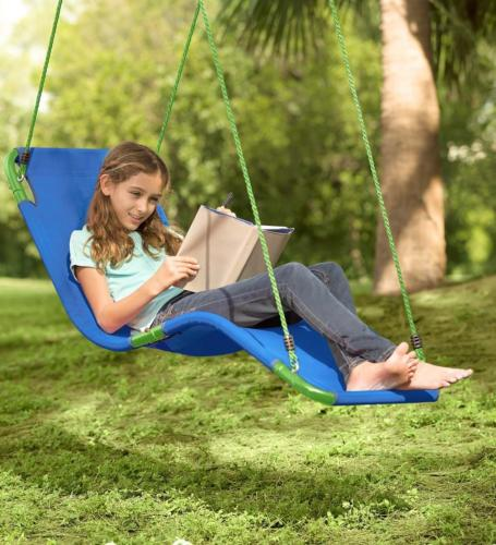 HearthSong® Outdoor Hanging Chaise Lounge Chair Tree Swing,